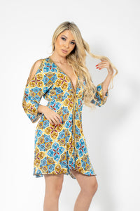 Mosaico Yellow Blue Sheer Silk with Gold Chains Cocktail Dress - BACCIO Couture