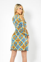 Load image into Gallery viewer, Mosaico Yellow Blue Sheer Silk with Gold Chains Cocktail Dress - BACCIO Couture