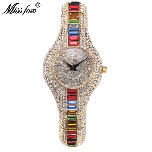Austria Crystal Luxury Ladies Gold Watch , Shockproof , Waterproof Female Clock