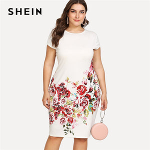 Plus size Pencil White  Elegant Dress. flower desing