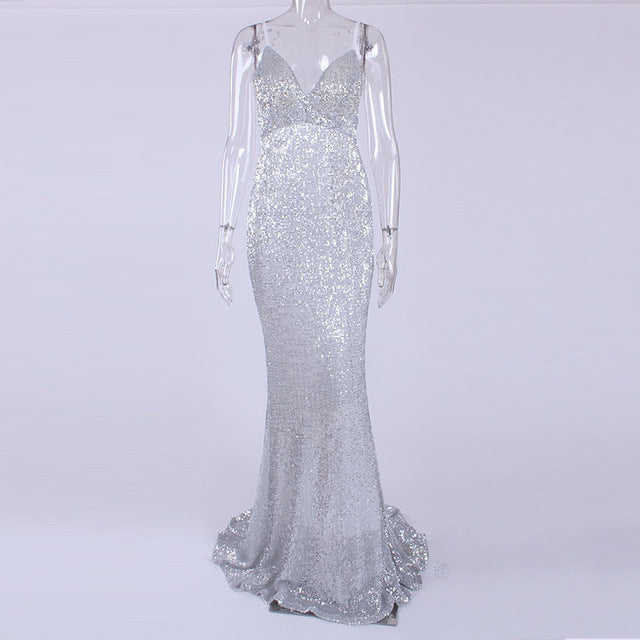 Sexy Stretch Silver Sequin, Padded V Neck Backless Mermaid Dress