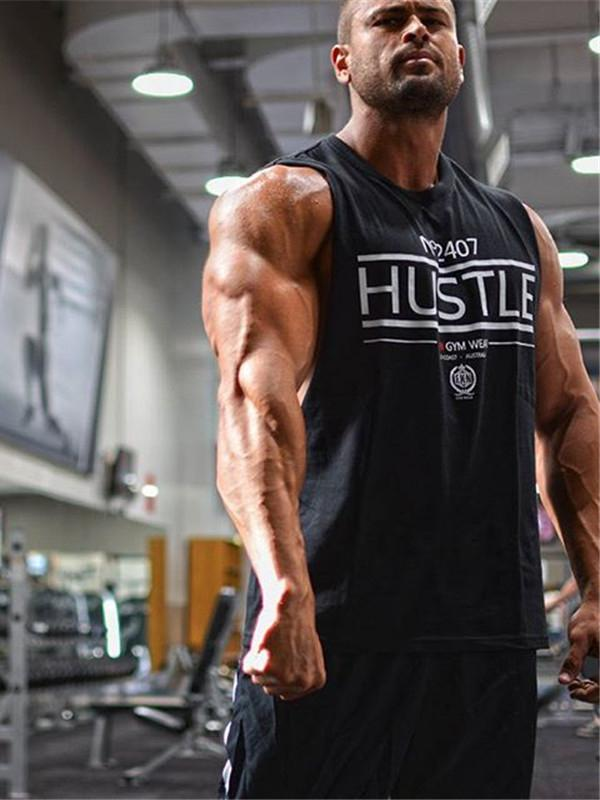 N°2407 HUSTLE- Muscle Hoodies Hooded Gym Tank Tops