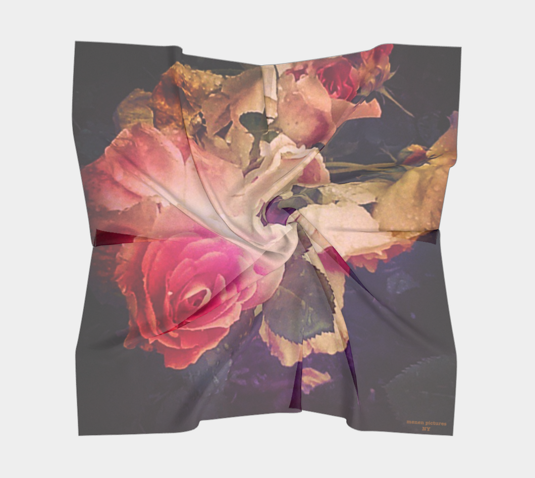 floral scarf, scarf with roses, square scarf
