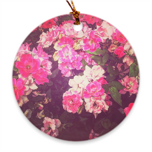 Night Roses Round Porcelain Ornaments