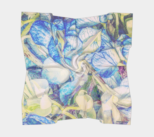 scarf with hydrangeas, floral scarf