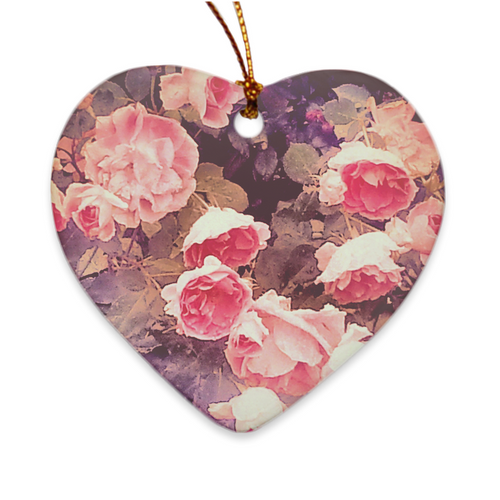 Rosebush Heart Porcelain Ornament
