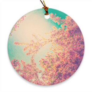 Pink Spring Round Porcelain Ornaments
