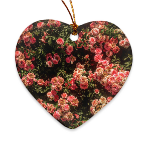 Rose Garden Heart Porcelain Ornament