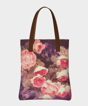 vegan leather, floral tote bag