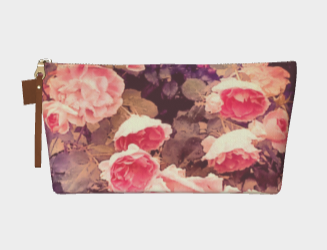 floral makeup bag with roses