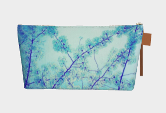 blue makeup bag with blossoms