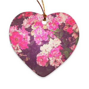 Night Roses Heart Porcelain Ornaments