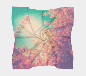 floral scarf, square scarf with blossoms