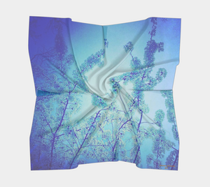 blue scarf, floral scarf with blossoms