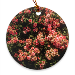 Rose Garden Round Porcelain Ornaments