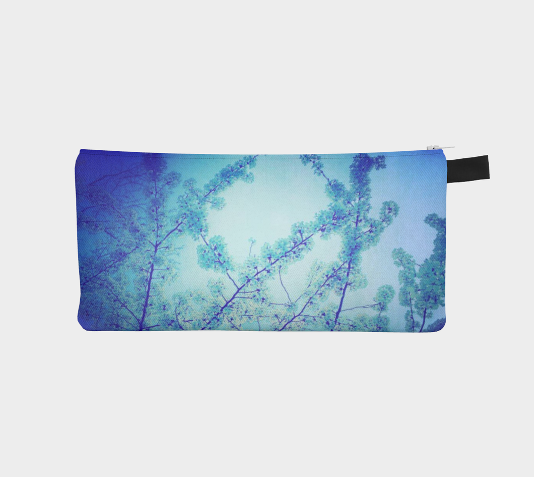 blue pencil case, floral pencil case
