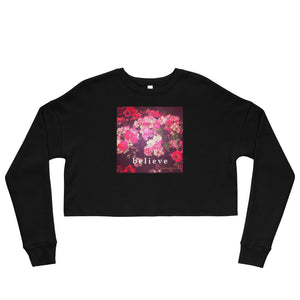 Night Roses + Believe Crop Sweatshirt