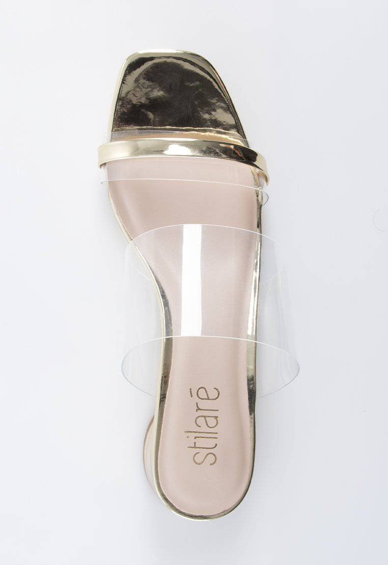 Stella Transparent Sandals in Gold