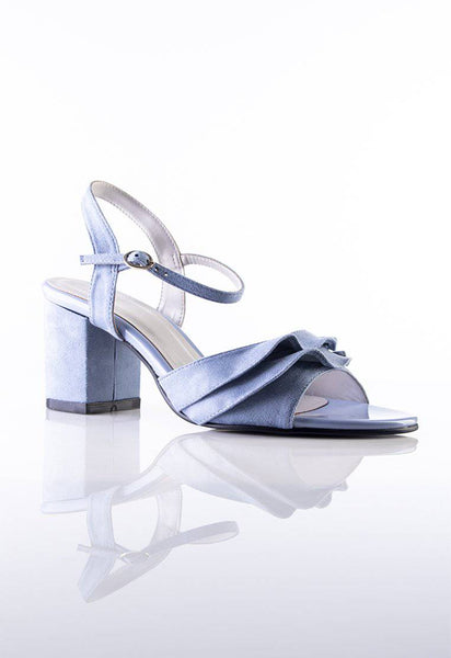 Stilaré Alana Ruffle Block Heel Sandals in Powder Blue - Stilaré