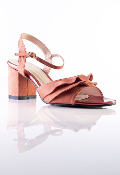 Stilaré Alana Ruffle Block Heel Sandals in Pink - Stilaré