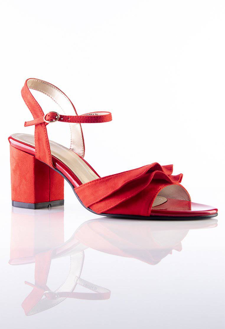 Stilaré Alana Ruffle Block Heel Sandals in Red - Stilaré