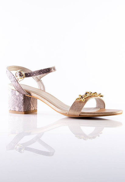 Julie Embellished Sandals in Champagne