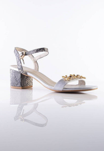 Julie Embellished Sandals in Silver