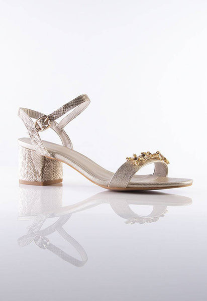 Julie Embellished Sandals in Gold