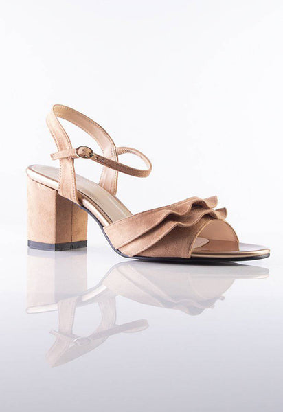 Stilaré Alana Ruffle Block Heel Shoe in Nude Brown - Stilaré