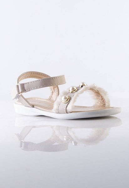 Bella Beige Kids Sandals with Pearls