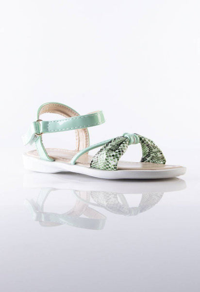 Monique Kids Sandals in Green Snakeskin Print