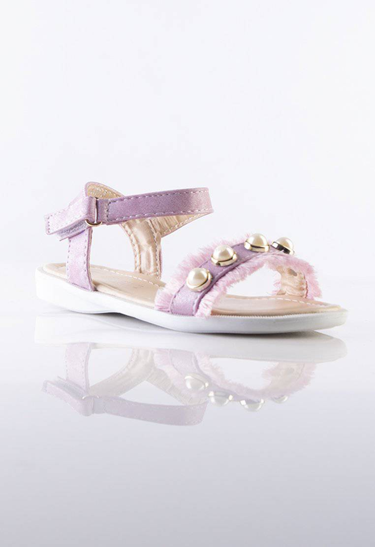 Bella Pink Kids Sandals with Pearls