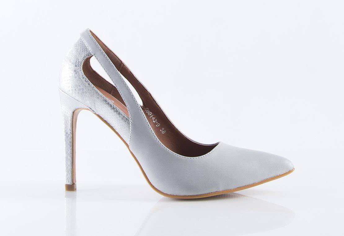 Allure Snakeskin Heels in Grey