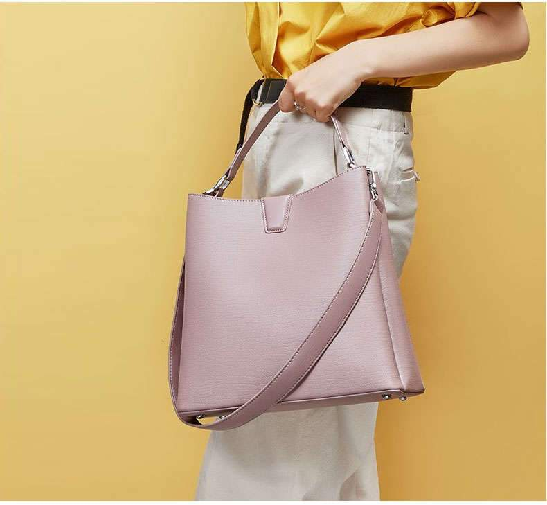 Carina Mauve Leather Tote Bag - [Stilaré]