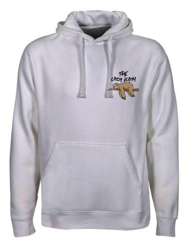 The Lazy Sloth Adult Unisex Hoodie (White)