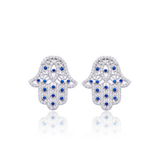Silver and Zirconia Hamsa Hand and Evil Eye stud earrings