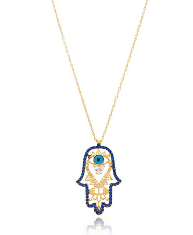 Intricate Lucky Hand and Evil Eye Necklace