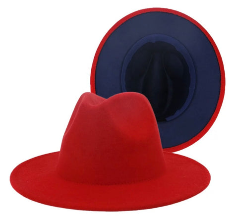 Red / Navy Two-Tone Fedora Hat