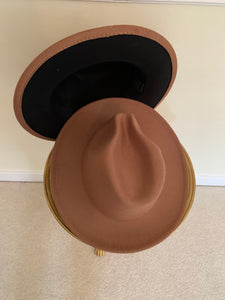 Brown / Black Two-Tone Fedora Hat