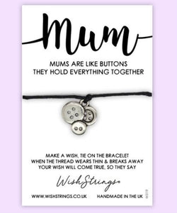 Mums are like Buttons Wishstring Bracelet
