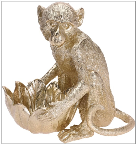 Gold Monkey With Bowl