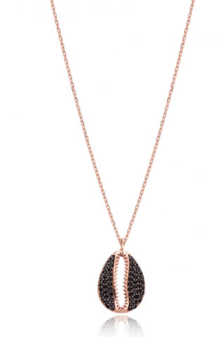 Black Zircon Seashell Necklace