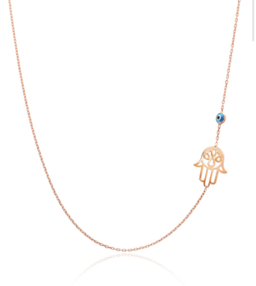 Hamsa and Evil Eye Necklace