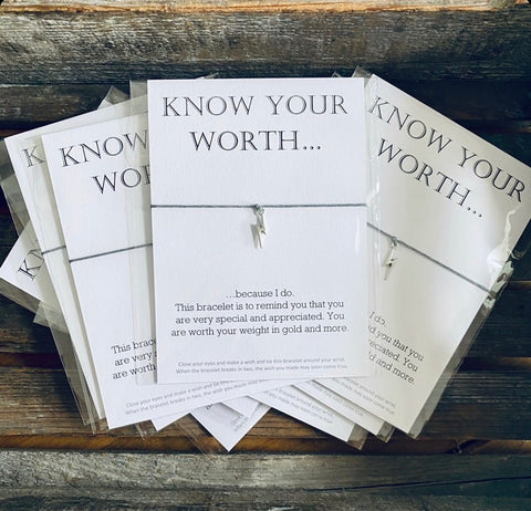 """Know Your Worth"" Message Bracelet"