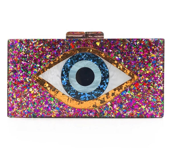 Acrylic Evil Eye Clutch Bag with Attachable Chain