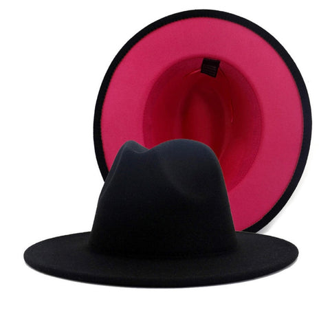 Black and Fuchsia Fedora Hat