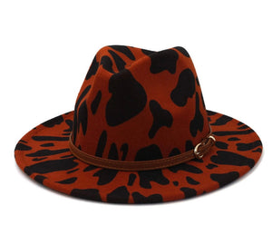 Burnt Toffee Cow Print Fedora Hat with Detachable Belt
