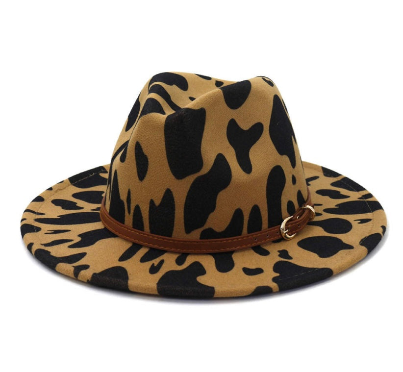 Beige Cow Print Fedora Hat with Detachable Belt