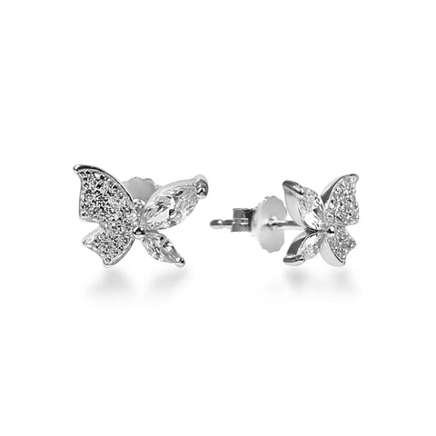 Beautiful Sterling Silver Butterfly Earrings with Zirconia stones.