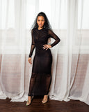 Sheer Black Ruching Dress